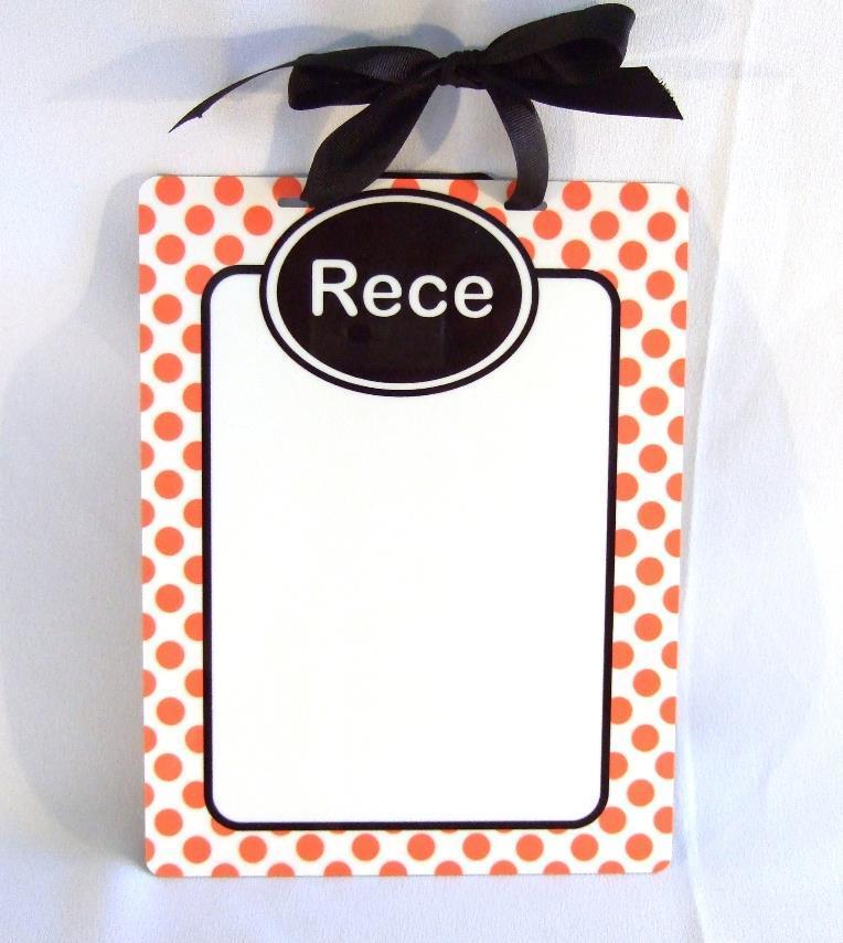 Orange Polka dot personalized dry erase board DEB1008
