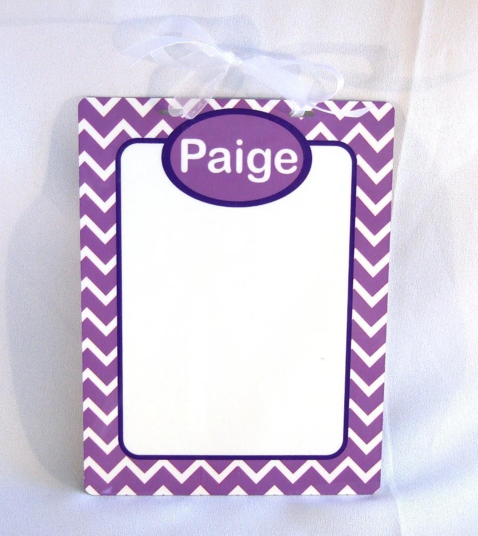Personalized dry erase board with purple and white chevron  DEB1002