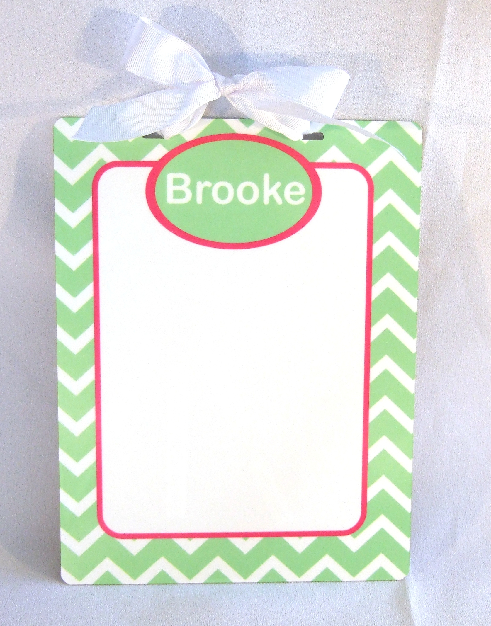 Personalized metal dry erase board with lime green and white chevron pattern and hot pink trim   DEB1005