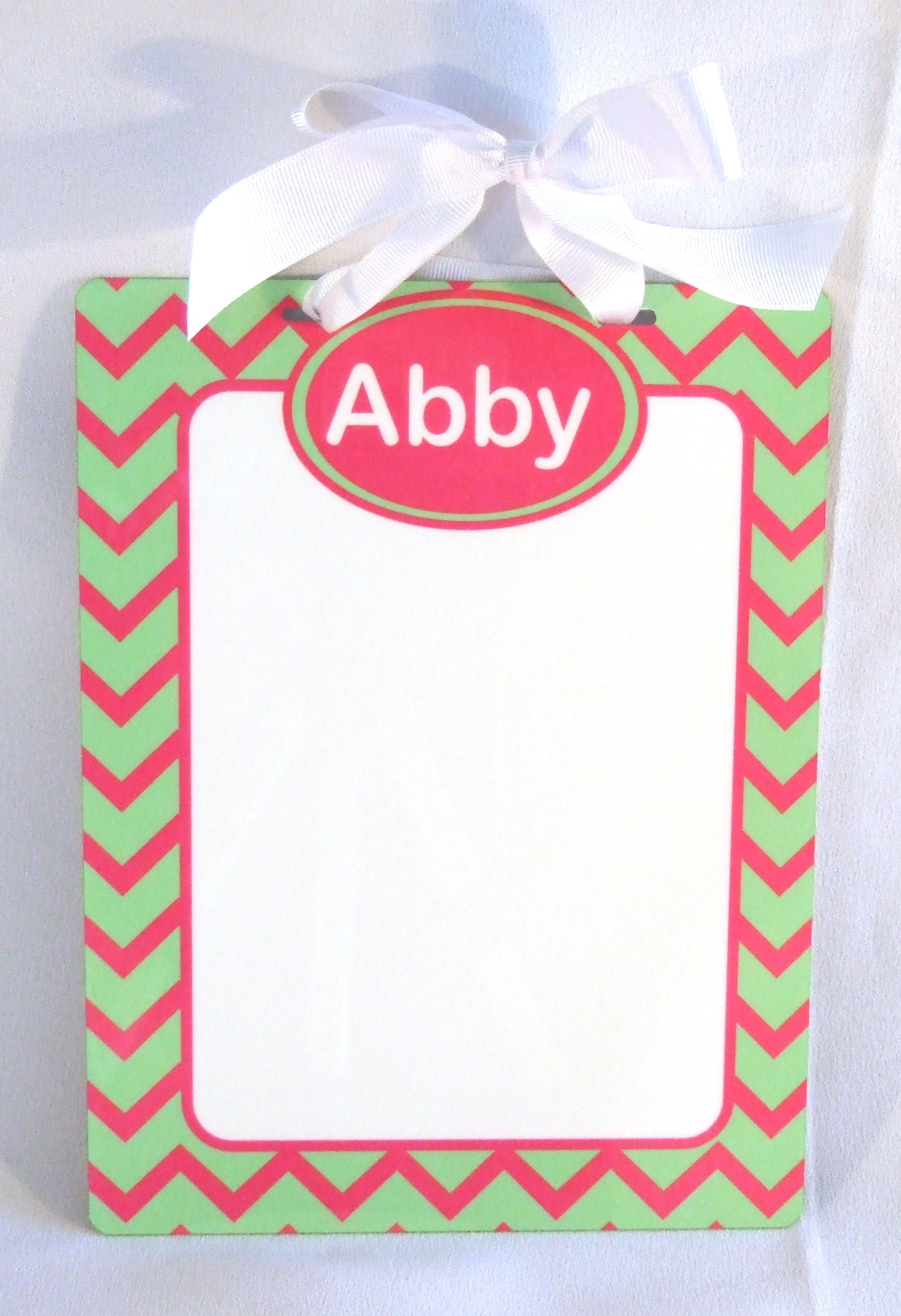 Personalized metal dry erase board with lime green and hot pink chevron pattern and hot pink trim  DEB1006
