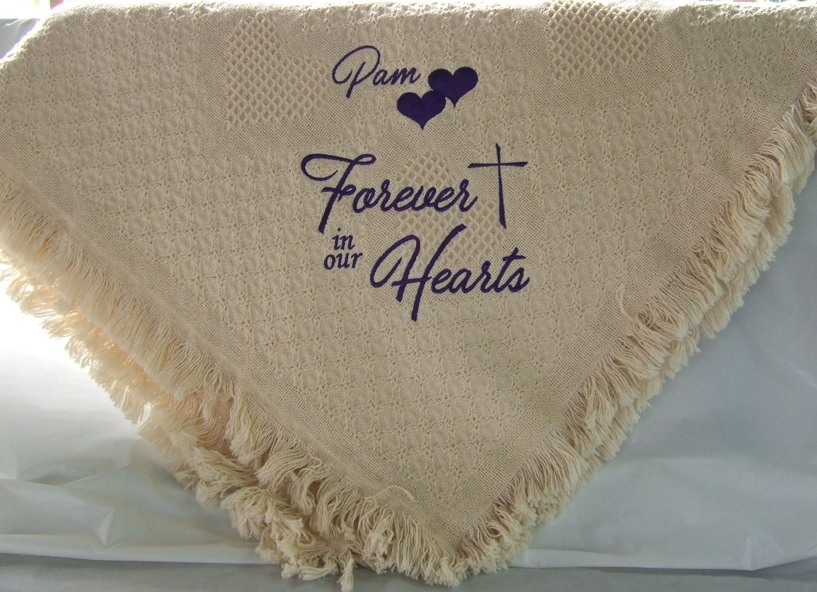 Forever in our Hearts cream memorial blanket