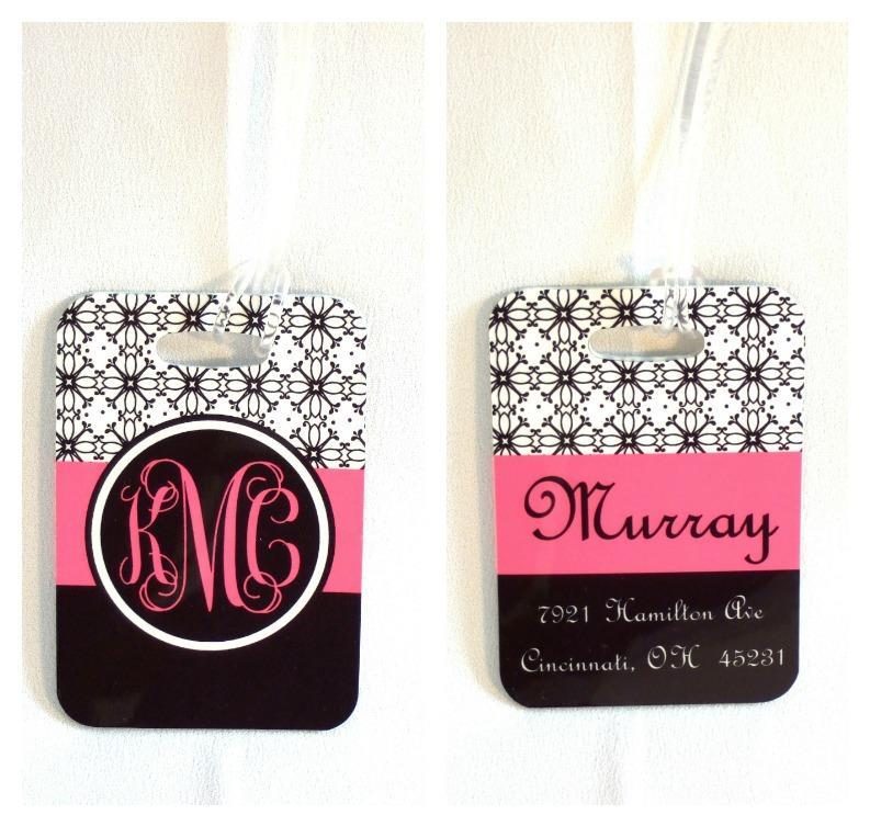 Personalized black and white floral bag tag with name or monogram