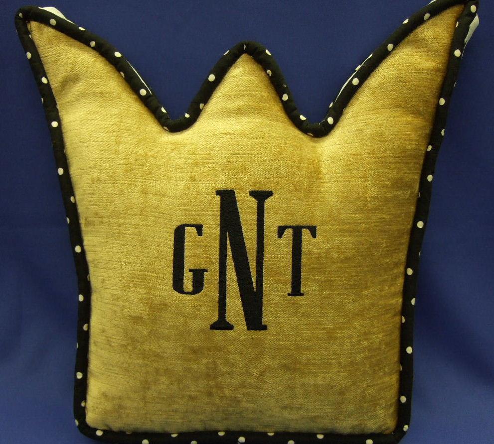 Monogrammed crown pillow