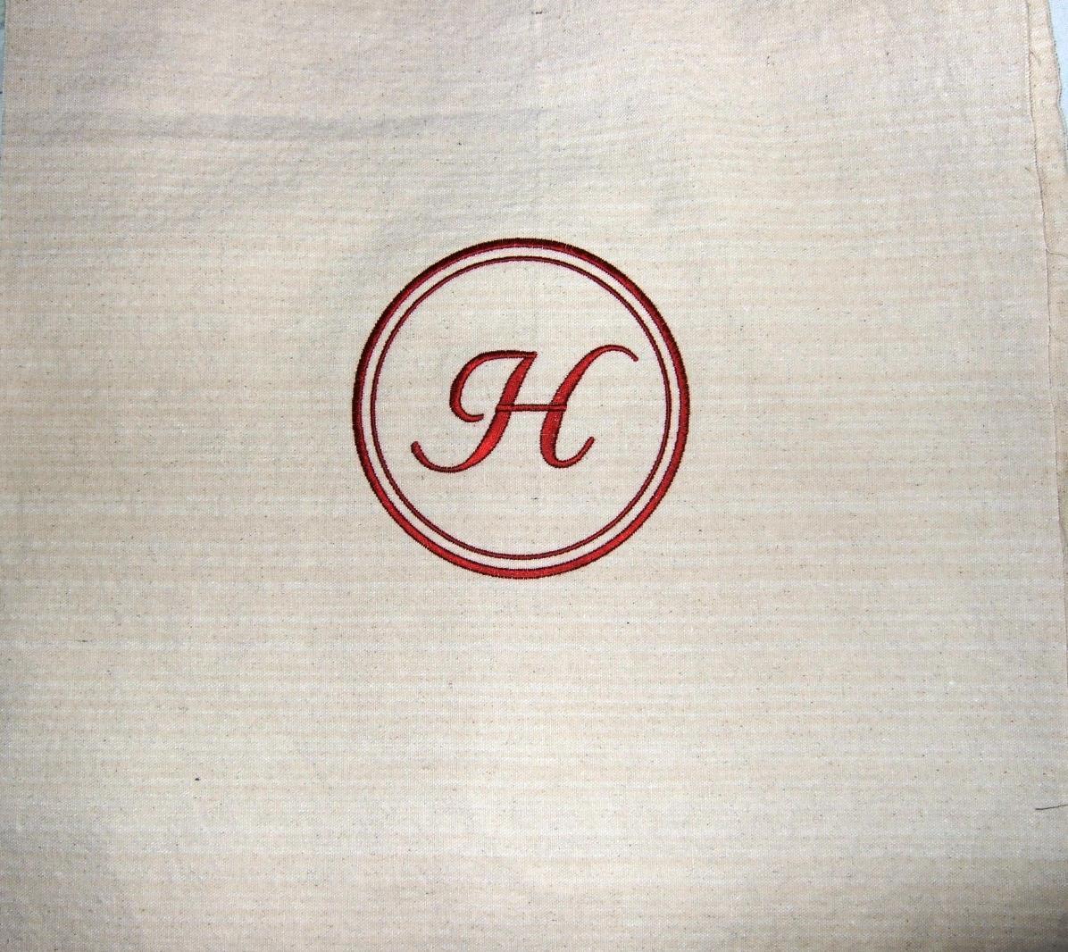 Custom monogram on customer's fabric