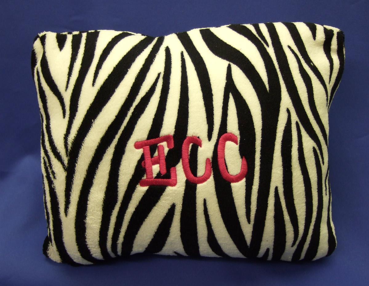 Monogrammed zebra pillow