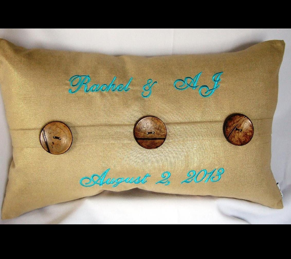 Bride & Groom names & wedding date on pillow