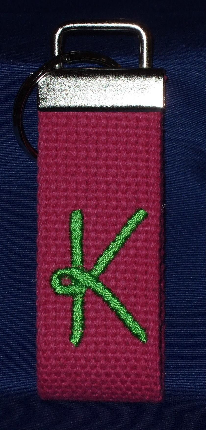 Personalized hot pink woven key chain