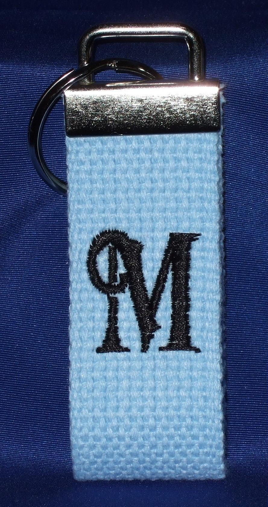 Personalized light blue woven key chain