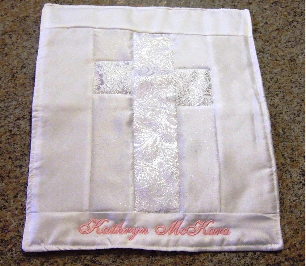 Baptismal quilt with baby's name