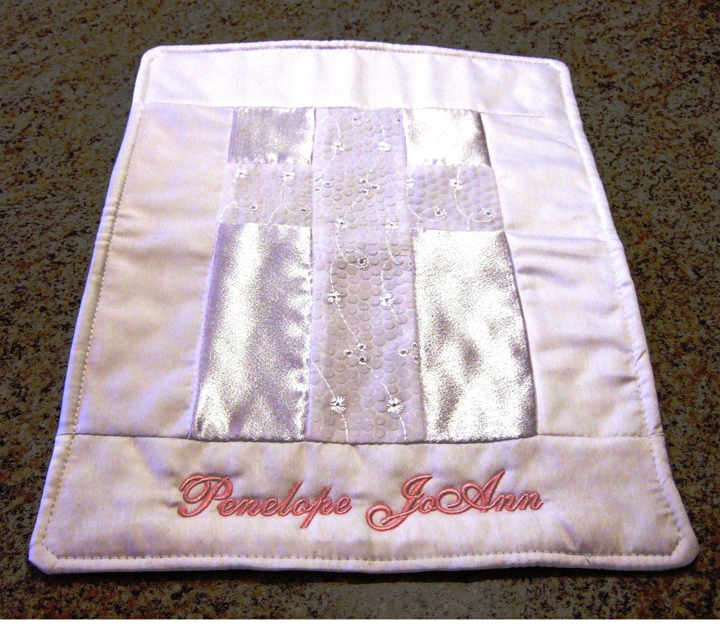 ImageBaptismal quilt with baby's name
