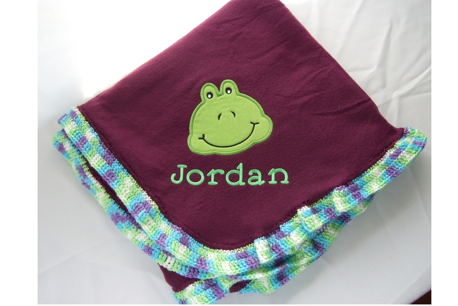 Blanket with name and applique frog